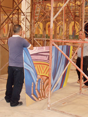 The Pantocrator is raised into the dome piece by piece