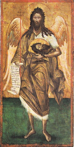 St. John the Forerunner - Angel of the Wilderness. Greek icon 15th/16th century. Lev Zubelov collection. (90.5x45.5cm)