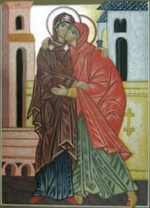Contemporary icon, 'The Visitation' Anonymous Inspired by Luke 1:39-56