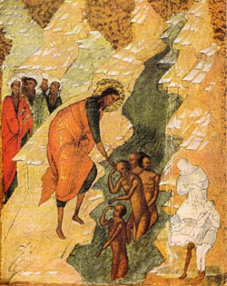 The Assembly of the Baptist: Detail from a 'Six Day Icon', School of Novgorod (from the book ICONS introduced by T. Talbot Rice).