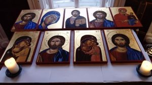 Icons produced by participants on an icon-painting retreat at Rydal Hall in 2015, taught by Christopher Perrins